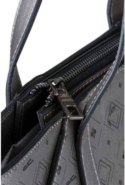 Deri Company Kadın Basic Omuz Çantası Monogram Desenli Logolu Gümüş Siyah (4018G) 214022