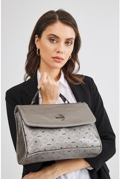 Deri Company Kadın Basic Omuz Çantası Monogram Desenli Logolu Gümüş Siyah (4019G) 214023