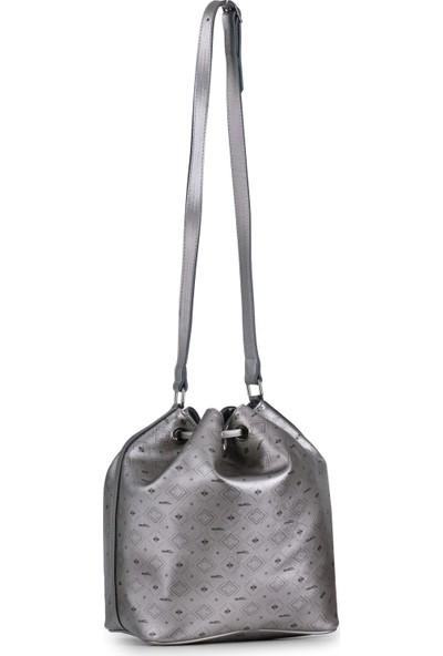Deri Company Kadın Basic Omuz Çantası Monogram Desenli Logolu Gümüş Siyah (4024G) 214026