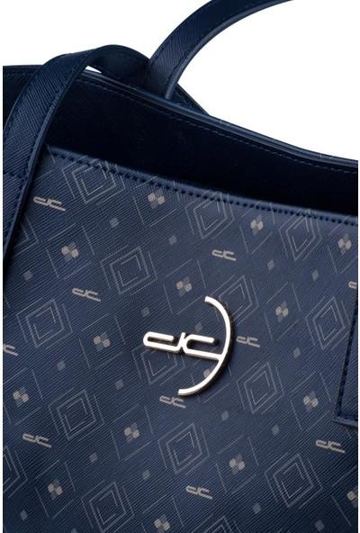 Deri Company Kadın Basic Omuz Çantası Monogram Desenli Logolu Lacivert Beyaz (4008L) 214014