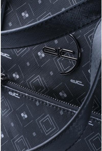 Deri Company Kadın Basic Omuz Çantası Monogram Desenli Logolu Siyah Gri (4013SG) 214018