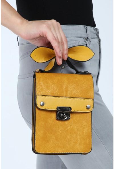 Rakkoo Sarı Suni Deri Çapraz Çanta Kutu Model