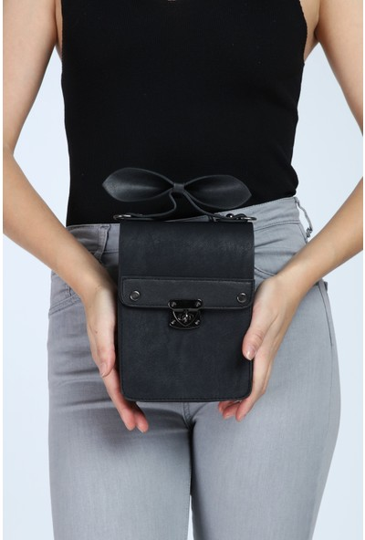 Rakkoo Siyah Suni Deri Çapraz Çanta Kutu Model