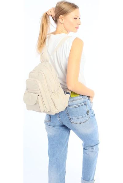 Çanta Stilim Krem Renk Krinkıl Kumaş Su Geçirmez Kadın Sırt Çantası