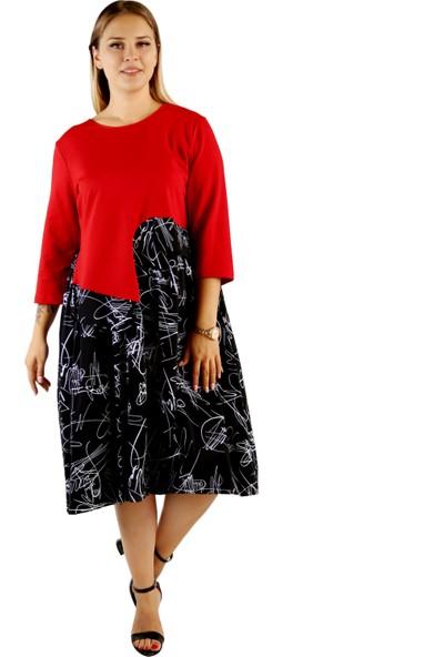 Endorfin İmza Desenli Üstü Sweat Altı Poplin Elbise