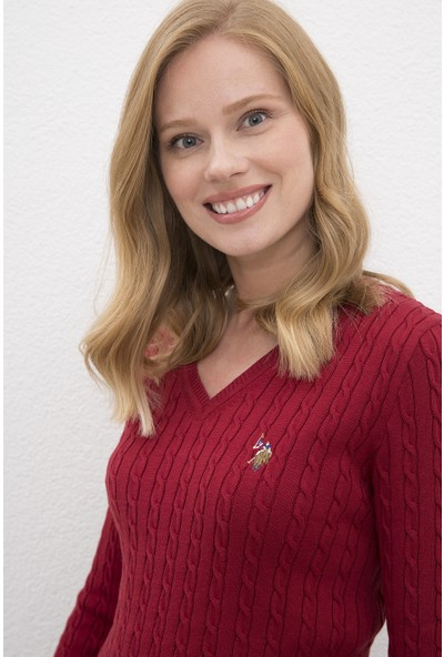U.S. Polo Assn. Kadın Kırmızı Triko Kazak Basic 50224708-VR030