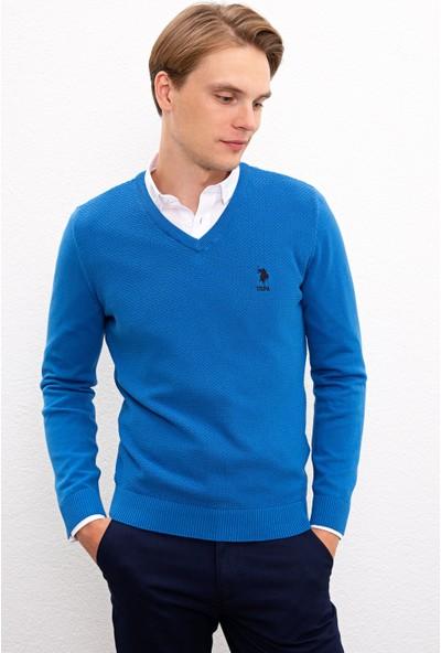 U.S. Polo Assn. Erkek Mavi Triko Kazak Basic 50224890-VR077