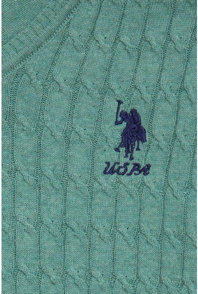 U.S. Polo Assn. Kız Çocuk Yeşil Triko Kazak Basic 50224481-VR176