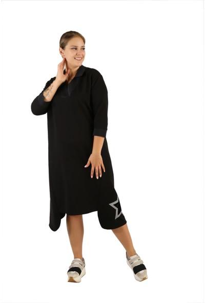 Endorfin Yıldız Baskılı Gömlek Yaka Asimetrik Sweat Elbise