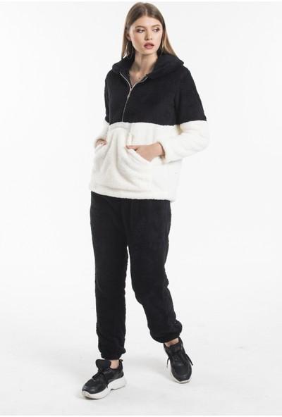 MODZİGO Kadın Lacivert Renk Pelüş Garnili Welsoft Eşofman Takımı