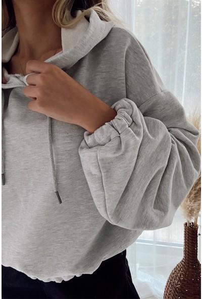 My Love Butik Kapüşonlu Balon Kol Sweatshirt Gri M
