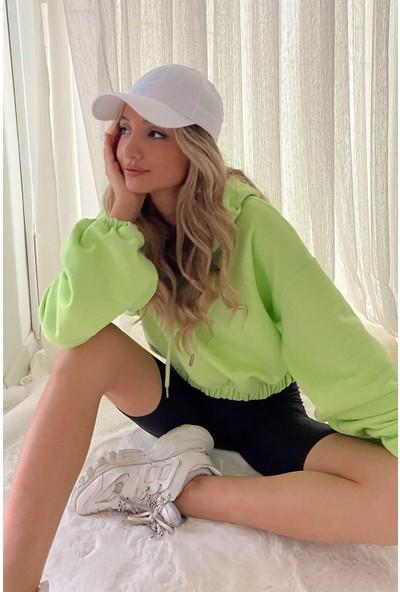 My Love Butik Kapüşonlu Balon Kol Sweatshirt Yeşil L