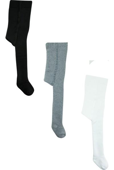 Olay 3'lü (Siyah, Füme, Beyaz) Kışlık Havlu Külotlu Bebek ve Çocuk Çorabı 3 - 5 Yaş