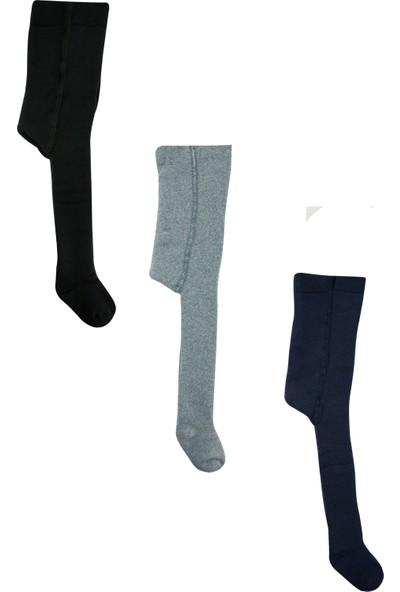 Olay 3'lü (Siyah, Füme, Laci) Kışlık Havlu Külotlu Bebek ve Çocuk Çorabı 9 - 11 Yaş