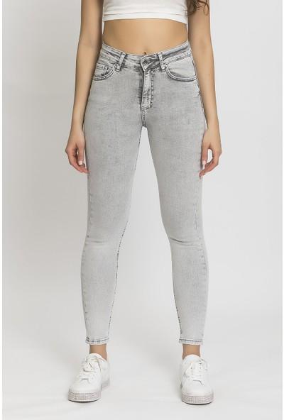 Its Basic Gri Yüksek Bel Slim Fit Jean