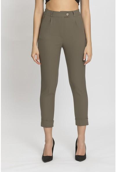 Its Basic Haki Paça Detaylı Yüksek Bel Pantolon