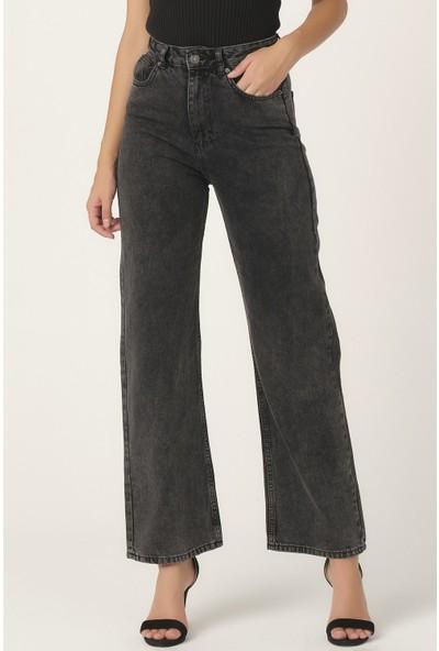 Its Basic Kadın Füme Renk Yüksek Bel Bol Paça Jean