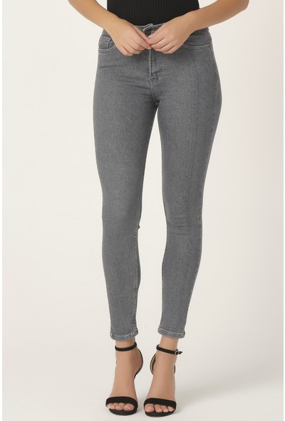 Its Basic Kadın Gri Renk Süper Yüksek Bel Slim Fit Jean