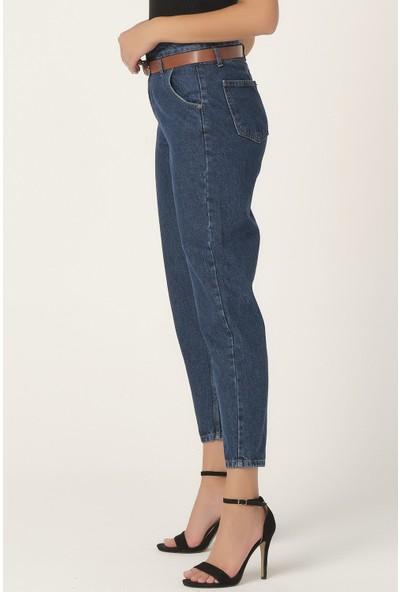 Its Basic Kadın Mavi Renk Beli Kemerli Yüksek Bel Balon Jean