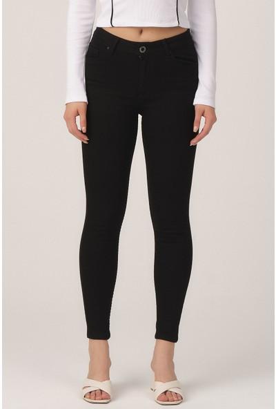Its Basic Kadın Siyah Renk Süper Likralı Yüksek Bel Pantolon