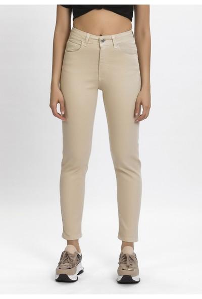 Its Basic Kadın Yüksek Bel Bej Renk Mom Jean