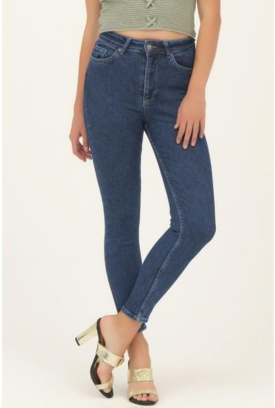 Its Basic Kadin Koyu Mavi Renk Yüksek Bel Slimfit Jean