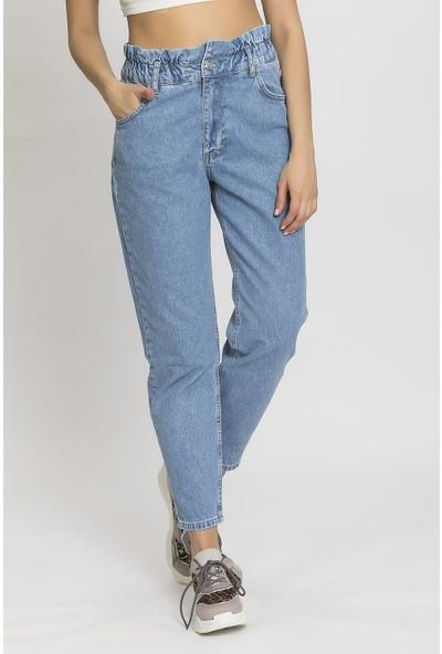 Its Basic Mavi Beli Lastikli Yüksek Bel Balon Pantolon