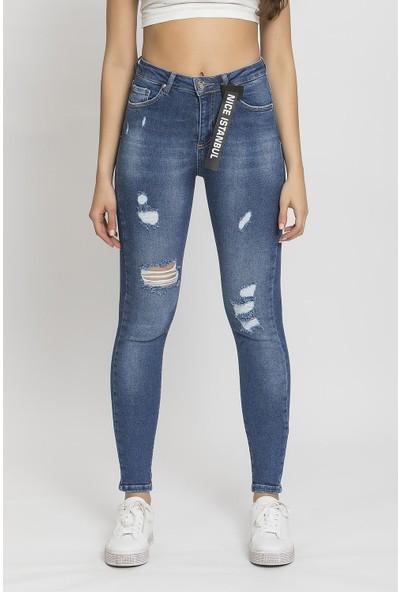 Its Basic Mavi Yırtık Detaylı Jean