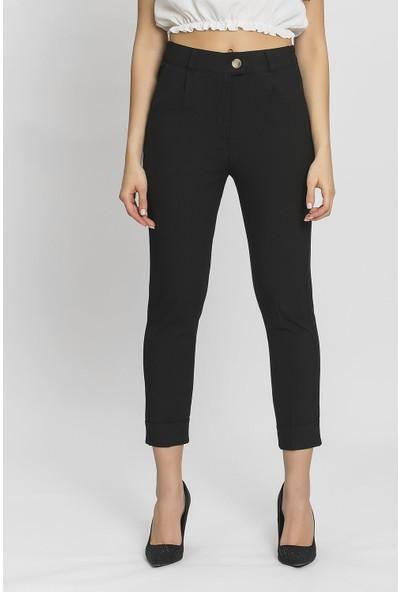 Its Basic Siyah Paça Detaylı Yüksek Bel Pantolon