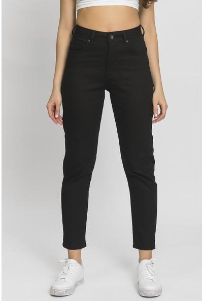 Its Basic Siyah Yüksek Bel Mom Jean