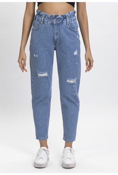 Its Basic Taş Kot Rengi Kemeri Lastikli Yırtık Yüksek Bel Balon Jean