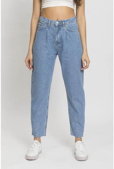 Its Basic Taş Kot Rengi Yüksek Bel Balon Jean