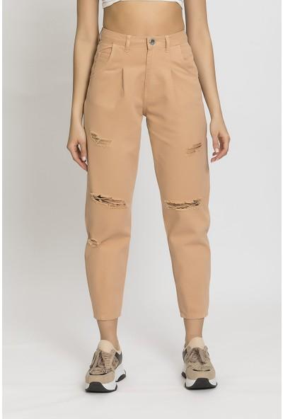 Its Basic Yırtık Camel Renk Yüksek Bel Balon Jean