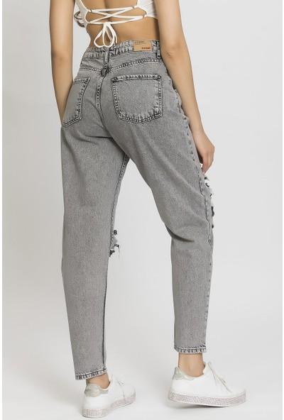 Its Basic Yırtık Gri Yüksek Bel Balon Jean