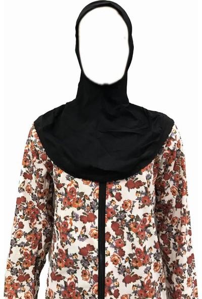 Hazal Namaz Elbisesi Türbanlı Fermuarlı Penye Kiremit Renk Çiçek Desen S - M