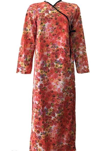 Hazal Namaz Elbisesi Cepli Turuncu Batik Desen Bağlamalı Model S - M