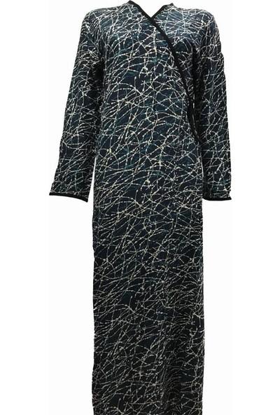 Hazal Namaz Elbisesi Lüx Viskon Dokuma Kumaş Lacivert Damla Çizgi Desen S - M