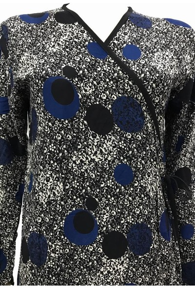 Hazal Namaz Elbisesi Lüx Viskon Dokuma Kumaş Mavi Halka Desen M - L