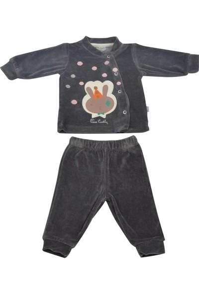 Pierre Cardin Tavşanlı Kadife Bebek Takımı Füme