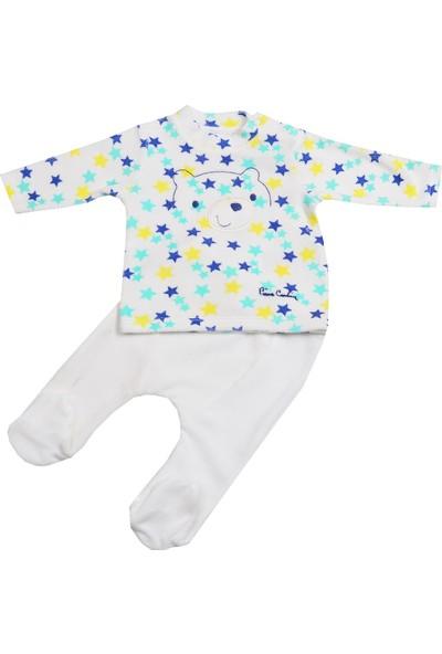 Pierre Cardin Yıldızlı Ayı Kadife Bebek Takımı Ekru