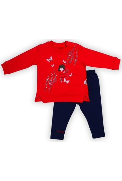 Pierre Cardin Çiçekli Kız Taytlı Bebek Takımı Kırmızı-Lacivert