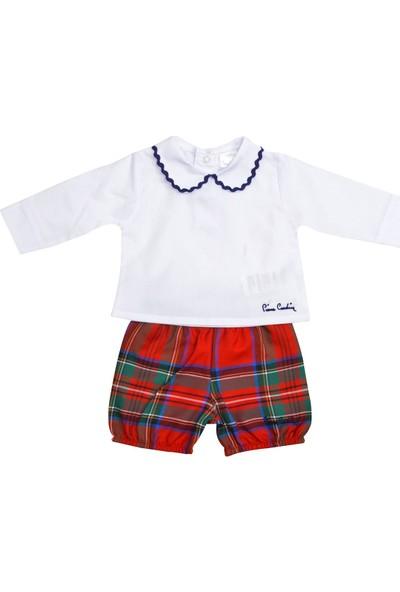 Pierre Cardin Gömlek Yaka Ekose Şortlu Bebek Takımı Kırmızı