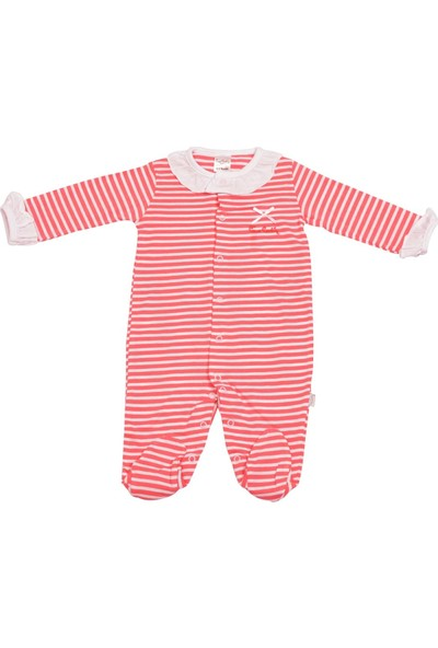 Pierre Cardin Çizgili Yakalı Bebek Tulumu Koyu Pembe