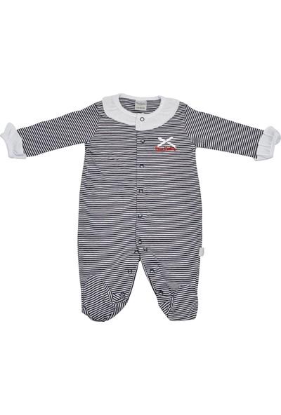 Pierre Cardin Çizgili Yakalı Bebek Tulumu Lacivert-Beyaz