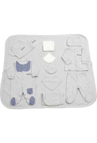 Pierre Cardin Bebek Giyim 10'Lu Hastane Çıkış Seti Ekoseli Gri
