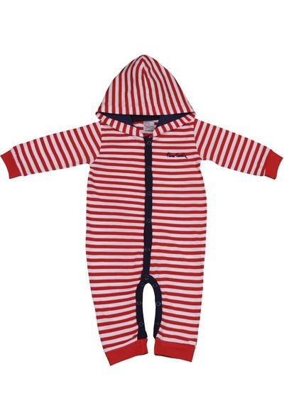 Pierre Cardin Çizgili Taraftar Erkek Bebek Tulumu Kırmızı-Beyaz