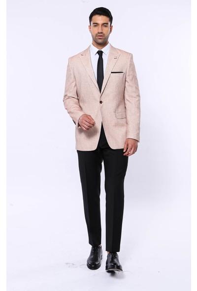 Wessi Erkek Açık Sarı Slim Fit Sivri Yaka Blazer Ceket