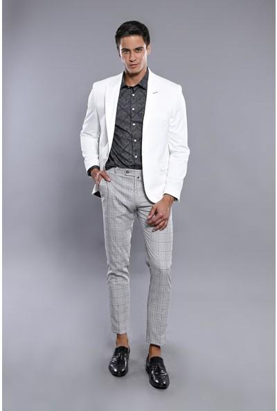 Wessi Erkek Beyaz Sivri Yaka Slim Fit Ceket