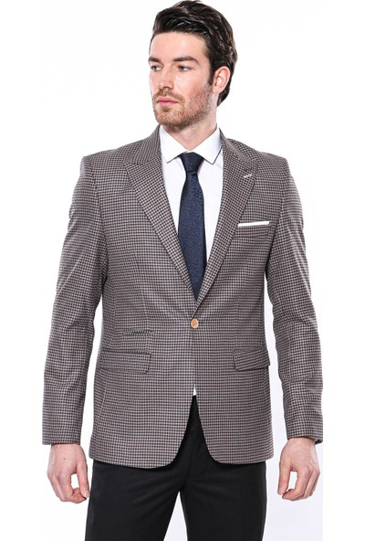 Wessi Erkek Lacivert Kendinden Desenli Sivri Yaka Slim Fit Ceket