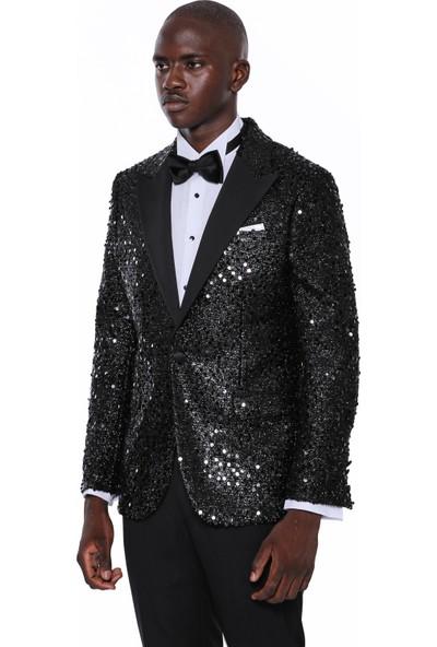 Wessi Erkek Siyah Sivri Yaka Slim Fit Ceket